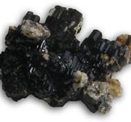 Black Tourmaline cluster with Aquamarine Crystal