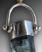Blue Tourmaline Silver pendant